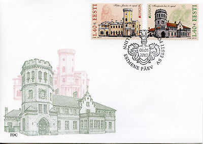 Estonia 2017 FDC Castles Europa Keila-Joa Maarjamae Castle 2v Set Cover Stamps