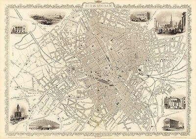 Antique Birmingham England decorative map Tallis 31,5 x 23,6 inch canvas