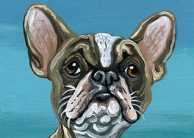 ACEO ATC Original Miniature Painting French Bulldog Frenchie Dog-Carla Smale