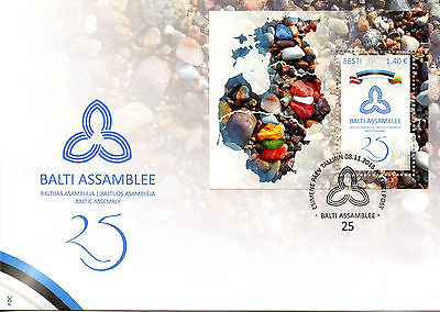 Estonia 2016 FDC Baltic Assembly 25th Anniv 1v M/S Cover Flags Stamps