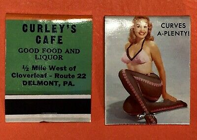 2 VINTAGE CURLEY'S CAFE RISQUE PIN-UP GIRL MATCH BOOK COVERS complete w/matches.