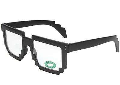 8bit Pixelated Gamer Nerd Glasses Black Frame Clear Lens - Pixel Nerd Glasses