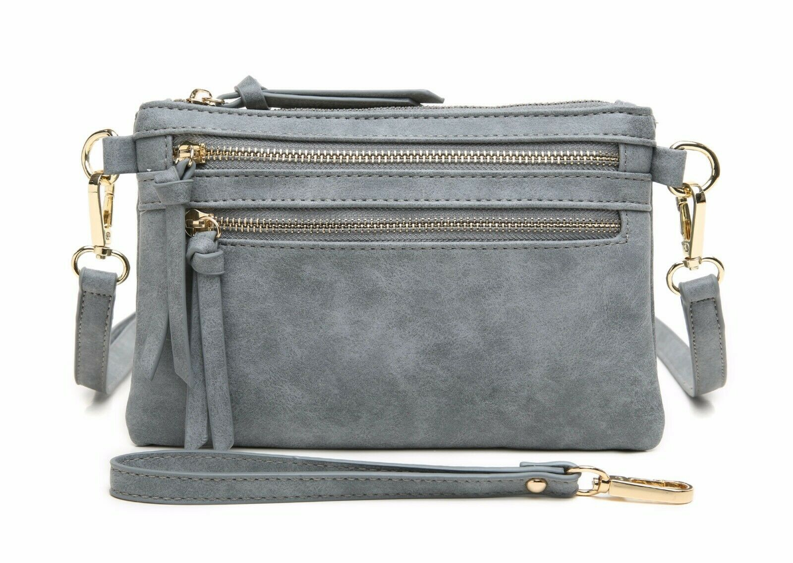 Aitbags Crossbody Bag for Women Multi Zip Pocket Clutch Purs