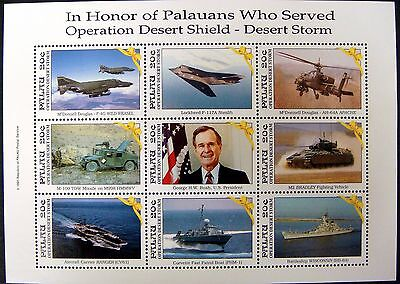 1991 MNH PALAU DESERT STORM WAR STAMPS SHEET SHIP HELICOPTER GEORGE H.W. BUSH