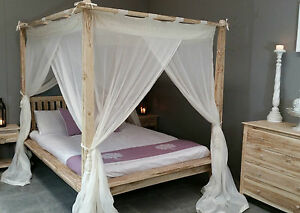 Balinese Queen Rumple Four Poster Bed Canopy Muslin Mosquito Net 155 X 205cm