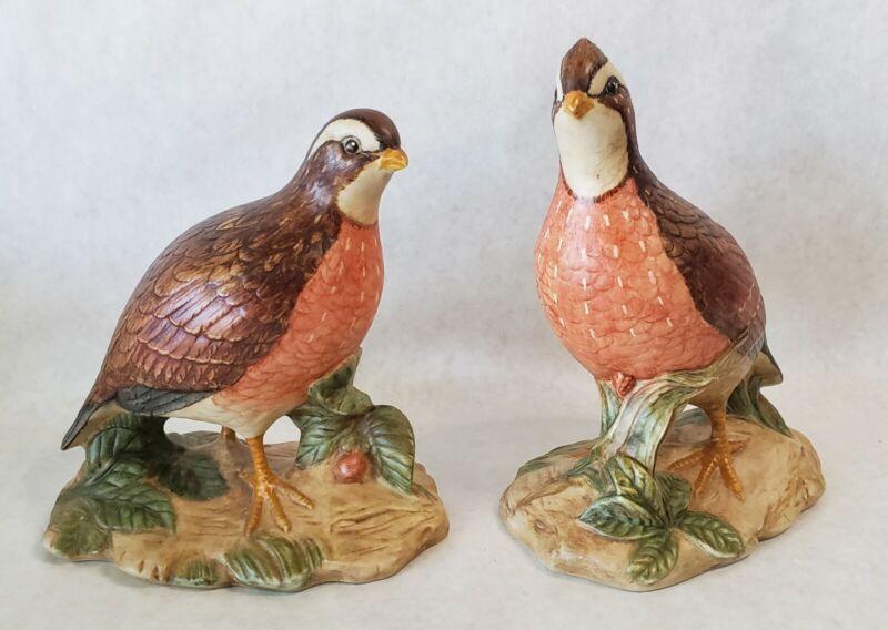 Vintage Pair Quails Holland Mold Ceramic Figurines 8