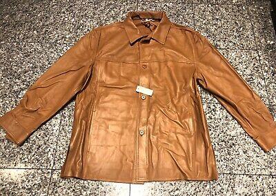 SULKA for Bergdorf Goodman Camel Brown Leather Men's Shirt Jacket Goodman Mens Leather