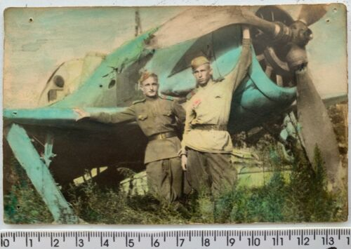 WWII Captured Focke-Wulf FW-190 German Aircraft HAND TINTED Color Vintage Photo