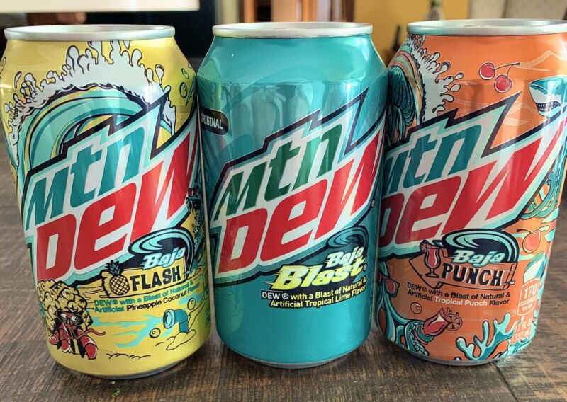 2021 MOUNTAIN MTN DEW BAJA BLAST PUNCH & FLASH SET OF 3 CANS NEW UN-OPENED 🌊