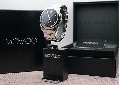 Swiss Movado LX Black Dial Stainless Steel Model # 0606626 Men's Watch