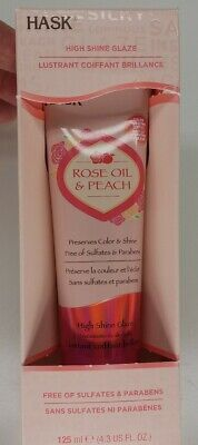 Hask Rose Oil & Peach (HIGH SHINE GLAZE) Preserves Color and Shine 125ml