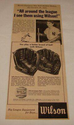 1954 Wilson baseball gloves ad ~ NEW YORK YANKEES BATBOY JOE CARRIERI JR