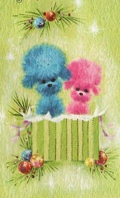 VINTAGE RETRO PINK BLUE POODLES MID CENTURY CHRISTMAS GREETING CARD KAYCREST