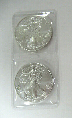 US Two UNC. 1 oz .999 SILVER AMERICAN EAGLES Dated 2001 & 2020-TWO TROY OZ TOTAL