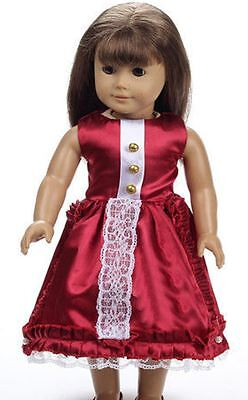 Doll Clothes Party Lace Red Party Dress Fits American 18
