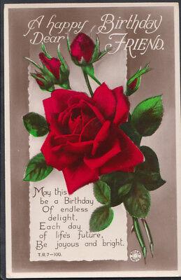 - Greetings Postcard - A Happy Birthday Dear Friend - Flowers - Roses  RS7759