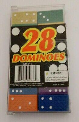 EMBOSSED WOODEN DOMINOES 28 Multicolor Blue Green Yellow Purple Red - Purple Domino