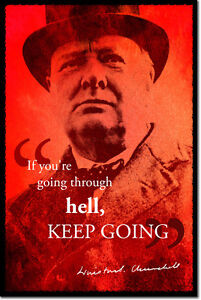 WINSTON-CHURCHILL-SIGNED-ART-PHOTO-PRINT-AUTOGRAPH-POSTER-GIFT-HELL-QUOTE