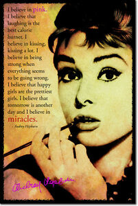 AUDREY-HEPBURN-SIGNED-ART-PHOTO-PRINT-AUTOGRAPH-POSTER-I-BELIEVE-IN-PINK-QUOTE