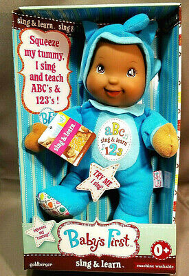 NEW Baby's First ABC 123 Sing and Learn Doll Elephant Blue Outfit Stuffed Toy