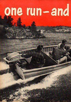 1952 Vintage Ad Evinrude Outboard Motors Fishermen in Wood Boat