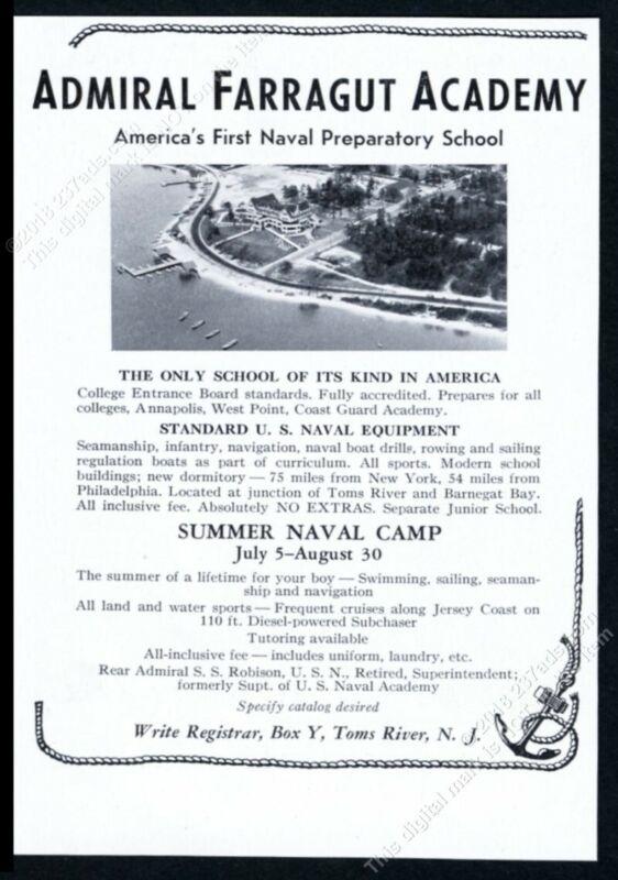 1937 Admiral Farragut Academy naval prep school photo vintage print ad