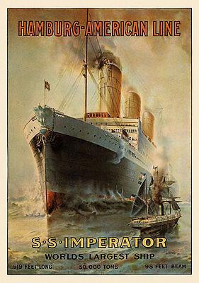 Hamburg American Line Imperator Passagierdampfer Seereise Plakate A2 303