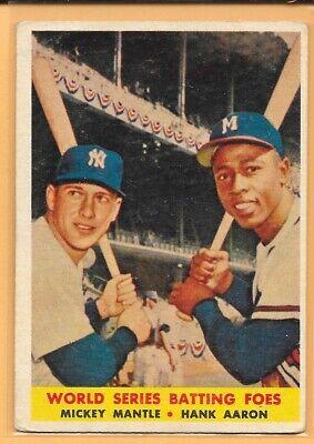 "1958 MICKEY MANTLE & HANK AARON ""WORLD SERIES BATTING FOES"" - VINTAGE CARD #418"