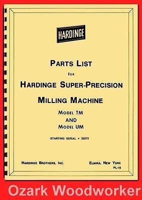 Hardinge Milling Machine Models Tm Um Parts Manual Serial 32273 Up 1118