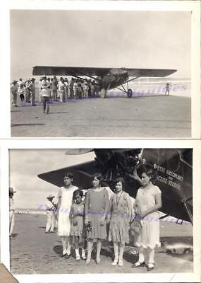 1930S Latino Mexican Women Group With Veedol Oil Stinson Sm Airplane Photos