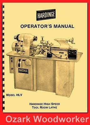 Hardinge Old Hlv High Speed Tool Room Lathe Operators Manual 54 1124
