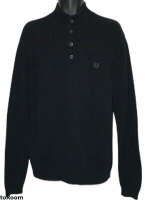 Chaps Ralph Lauren Men's Large Black Knit Sweater Brown Faux Suede Elbow Patches