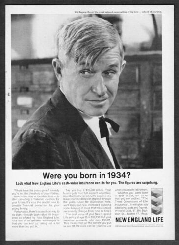 1934 Will Rogers photo 1962 New England Life Insurance vintage promo print ad
