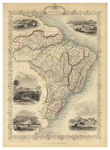 Brazil-Sao-Paulo-Porto-Alegre-Recife-illustrated-map-John-Tallis-ca-1851