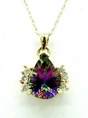 14K Solid Gold Women's Diamond Mystic Topaz Necklace November Birthstone Pendant