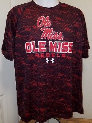 ID#Ole Miss Rebels Under Armour Heat Gear Large Red/Black NWT