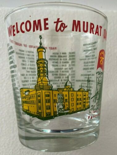 Vintage Shriner Murat Oasis Low Ball Cocktail Glasses Indianapolis 1884-1961