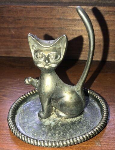 Vintage Brass Cat Ring Holder Gold Tone Brass Jewelry Dish