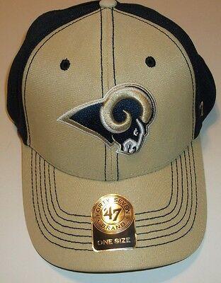 St. Louis Rams Ball Cap Hat~'47 Brand~Gold Navy~Mesh~Adjustable~FREE -