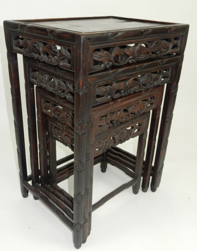 Set Of Antique Chinese Carved Rosewood Nested Tables