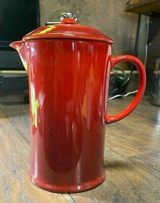 Le Creuset Café Stoneware Coffee French Press Red 32oz New / Kitchen Ware