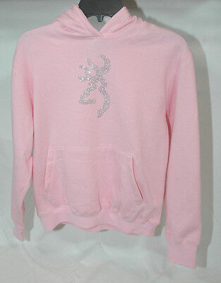 Browning Youth Bling Sweatshirt Hoodie Light Pink Rhinestone Buckmark  M L  (Light Pink Youth Hoodie)