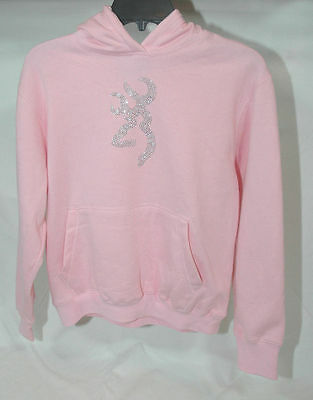 Browning Buckmark Youth Light Pink Bling Rhinestone Hoodie Sweatshirt Sweater (Light Pink Youth Hoodie)