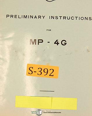 Sip Mp-4g Jig Boring Mill Preliminary Instructions Manual