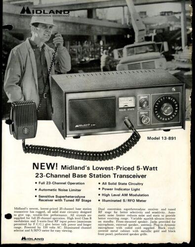 Vintage MIDLAND 23 Chan. Base Station Transceiver Print Ad Sales Spec Sheet