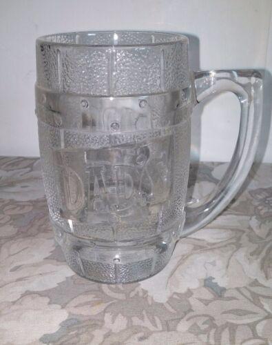 Vtg Dad's Root Beer Heavy Glass Barrel Shape Mug/ 12 Oz.