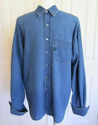 Paul Smith Jeans Shirt XL Blue Denim Button Down L/s French Cuffs Pocket #6422