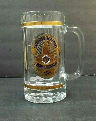 Los Angeles Police Tall Glass Mug Coffee Beer LAPD  Protect & Serve Gold Shield