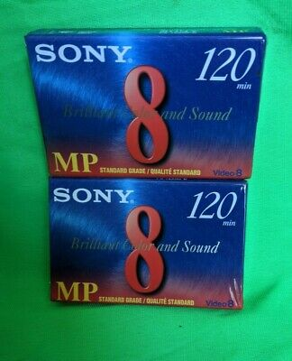 2 x Sony 120 Minute 8mm Video Camcorder Cassettes P6-120MPD