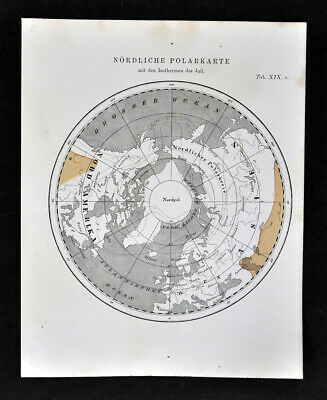 1872 Muller Astronomy Map North Pole Isotherms in July Arctic Climate Change